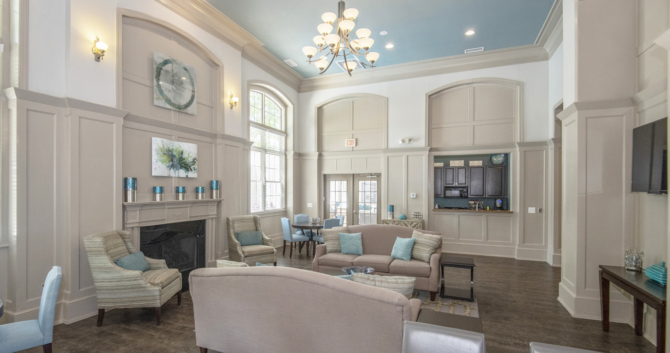 indoor lobby area, columns at wakefield in raleigh nc