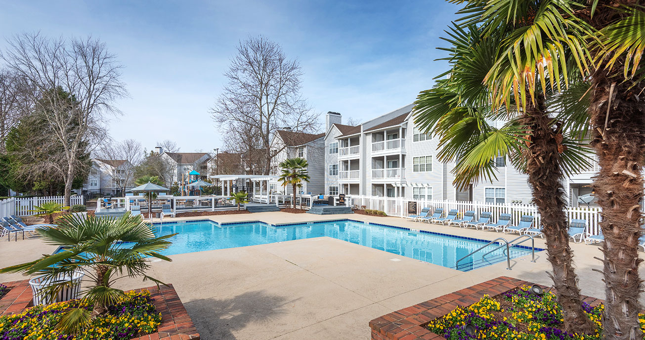 outdoor pool with apartment complex, magnolia terrace, charlotte nc